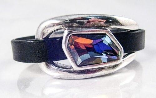 Italian Leather and Swarovski Crystal Cuff