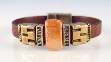 brown leather and bronze bracelet, wine country jewelry