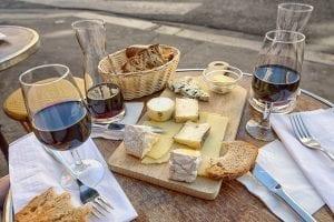 flight of wine and cheese from Oxbow Public Market, Napa, CA