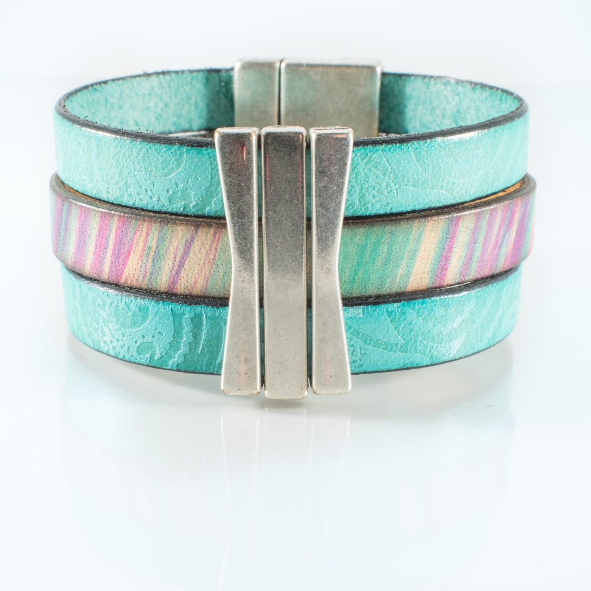 Turquoise Leather Cuff Bracelet