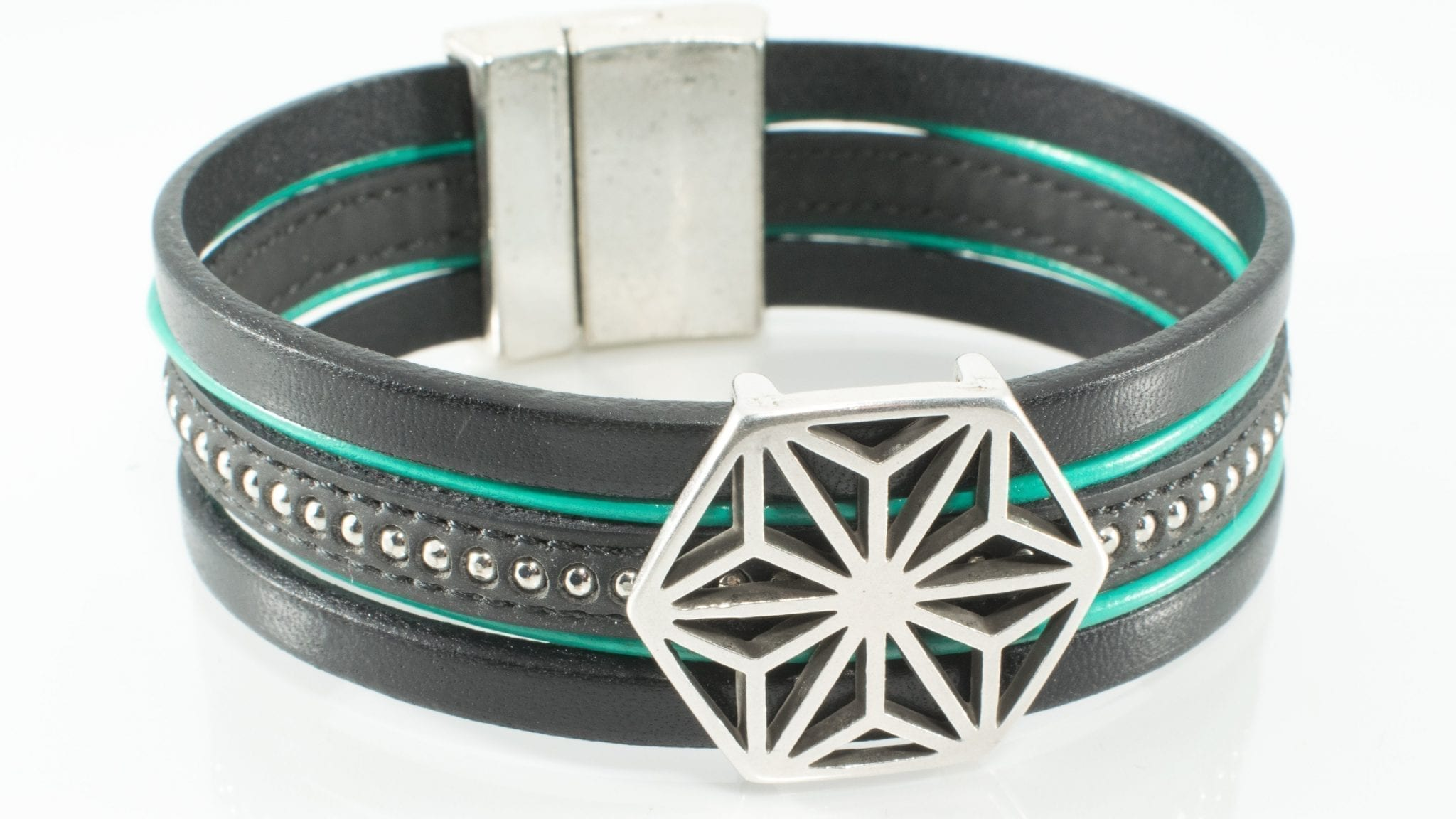 Black and Turquoise Leather Cuff Bracelet