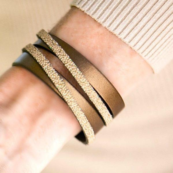 Bronzed Leather Wide Cuff