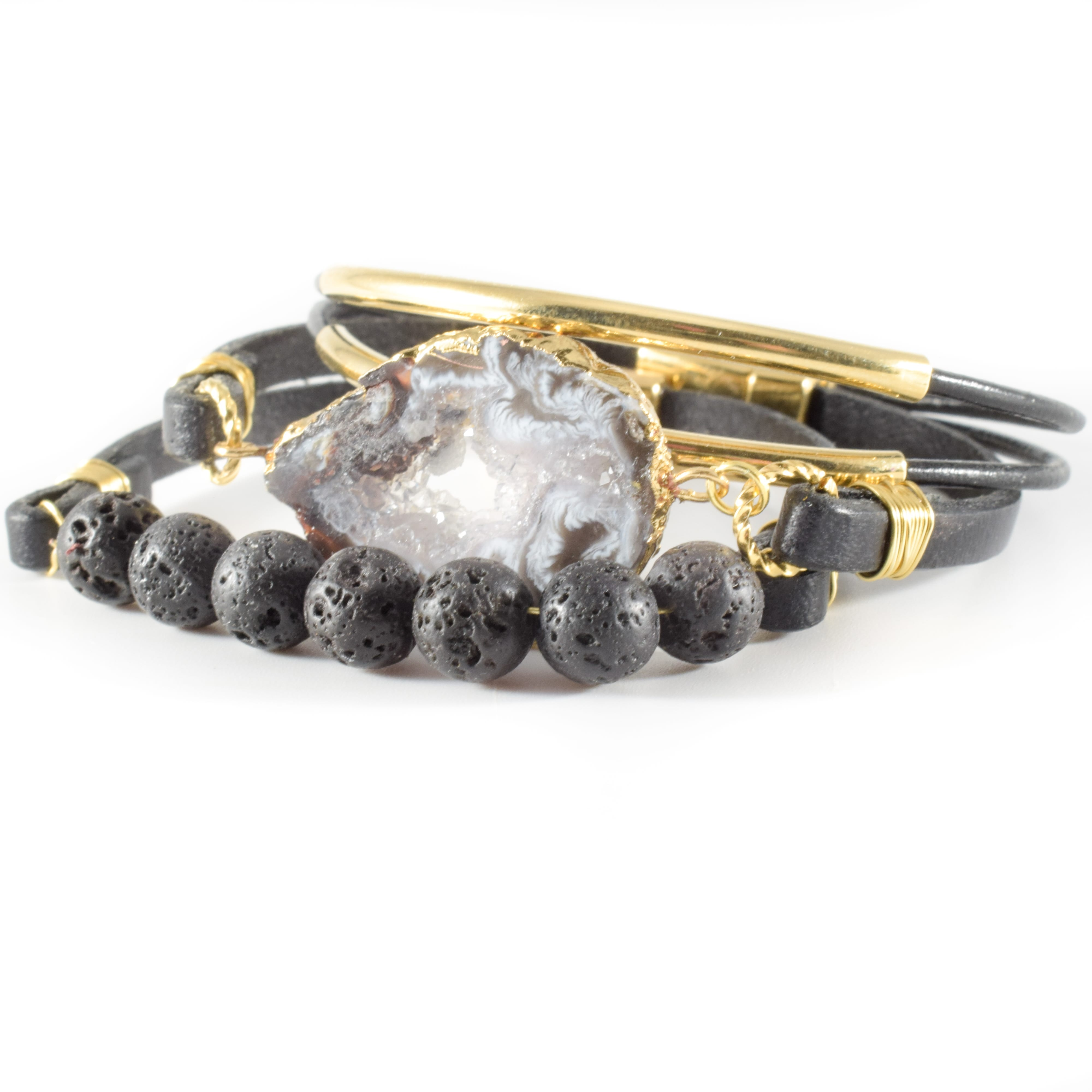 Druzy bracelet set